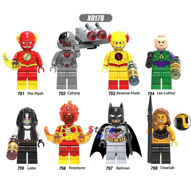 Pojedyncze superbohaterowie DC flash batman rewers-flash Lex Luthor Cyborg Lobo Fire Cheetah klocki budowlane zabawka dla dzieci