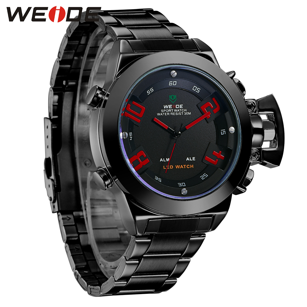 ФОТО WEIDE  Back light  Fashion  Brand Famous Army Red Watches Analog Digital LED Display Water-proof Wristwatch WH1008