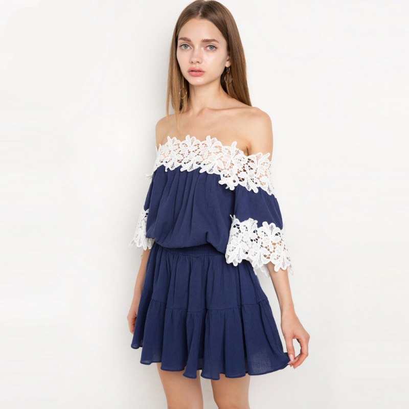 White lace spliced blue off the shoulder mini dress for women summer short sleeve high waist bardot dress ladies pleated desses