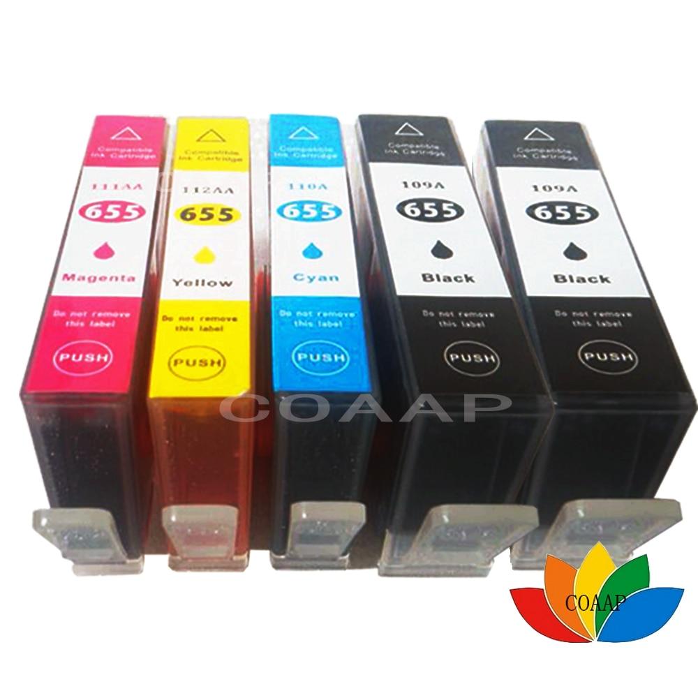 5 pièces Compatible C M Y BK Cartouche D'encre avec puce Pour HP 655XL Deskjet 3525 4615 4625 5525 6520 6525 6625