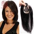 100% Человеческих парик из натуральных волос Руки связали топ системы Замена волос кусок парик для женщин Половина парик 7*10 СМ Моно Кружева Закрытие