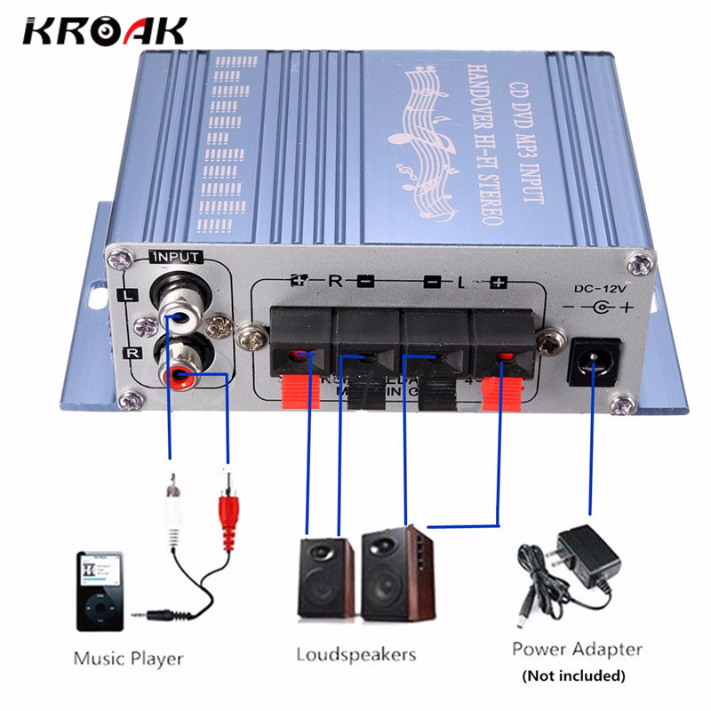 KROAK Mini 20w*20w HiFi Stereo Audio Amplifier AMP for Car MP3 FM Radio Boat 2 Cananal Stereo DVD Speaker Blue Red yiyelang yh 128 1200w car amplifier audio installation wires cables kit red blue