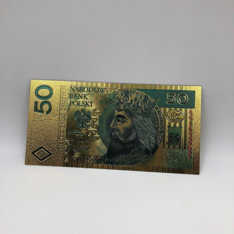 1 шт. unised 1994 Edition Poland Currency designed цветной 24 K позолоченный банкнот 500 PLN для банка подарочные сувениры - Цвет: 50PLN2017colored
