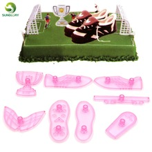 DIY 8PCS Cake Decorating Tools Plastic Fondant Cutter To Create Worldcup Soccer Boot Trophy Football Sugarpaste Craft Cake Mold diy 8pcs cake decorating tools plastic fondant cutter to create worldcup soccer boot trophy football sugarpaste craft cake mold