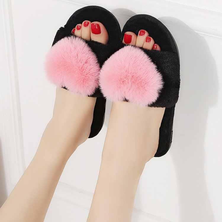 Kış bayan ev terlik kalp kürk kadın kapalı ev terlik sıcak kapalı ayakkabı su geçirmez ev slaytlar Zapatos mujer