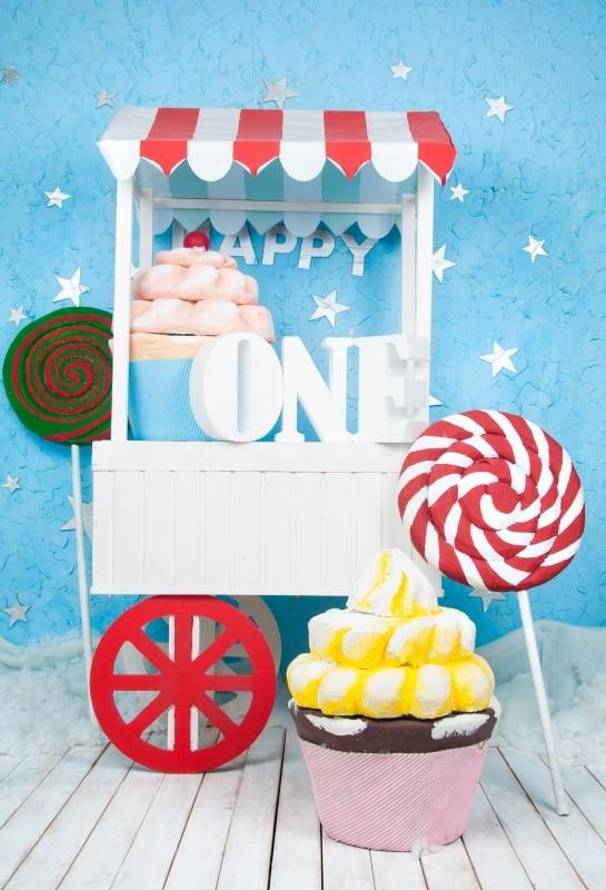 Laeacco prima zi de naștere din lemn tort de bomboane bomboane de - Camera și fotografia - Fotografie 1