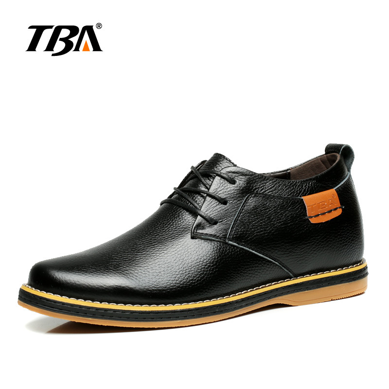 TBA Chinese Brand Men Real Cow Leather Casual Shoes Heighten Design Fashion Shoes Size 38-43 EUR Blue/Black Colors TBA NO5883 casual waterproof boot silicone shoes cover w reflective tape for men black eur size 44 pair