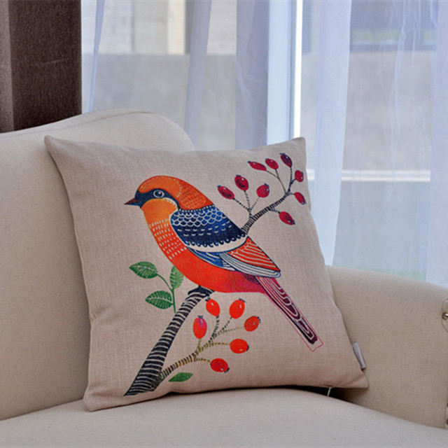 40 Homemade Red Bird Cushion Cover Printed Amimal Linen Cotton New Homemade Decorative Pillows