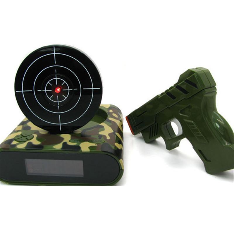 Fast Deliver Novelty Lcd Screen Laser Gun Target Shooting Digital Alarm Clock camouflage Home & Garden Clocks