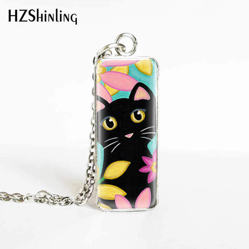 New Arrival Vintage Painting Flowers Cats Rectangle Stainless Steel Pendants Lovely Cats Painting Jewelry Necklaces Gifts