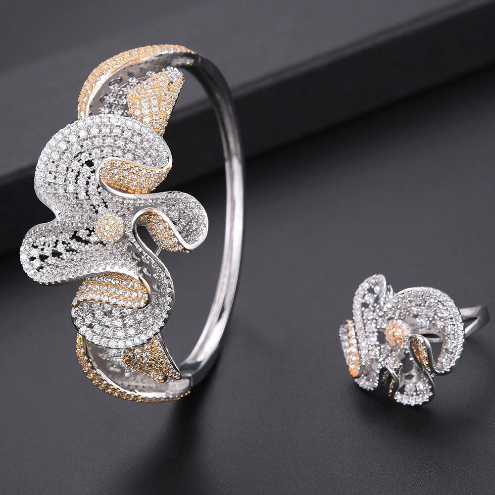 Zircon cubique de luxe ensembles de bijoux de mariage nigérian dubai collier boucles d'oreilles Bracelet anneau bijoux de mariage pour les femmes pendientes - 4