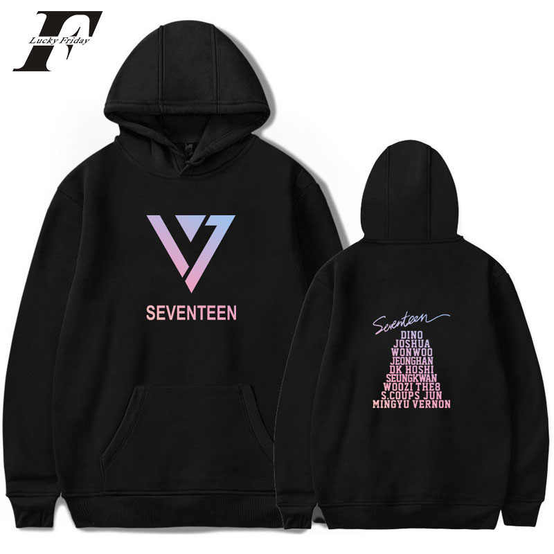 2018 hit hop Korean Style Women men cotton Long Sleeve Hooded Hoodies Sweatshirt Tops SEVENTEEN 17 Kpop Pullovers streetwear 4xl