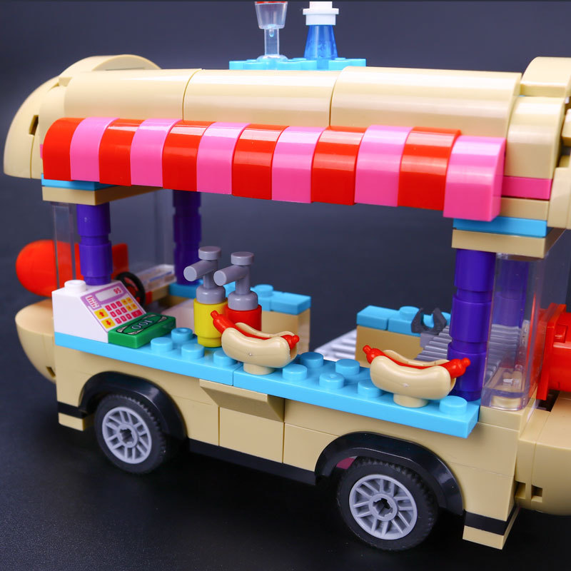 цена на New Girl Friend Amusement Park Hot Dog Van Building Blocks set Kids Bricks Gift Toys Compatible with friends kids Toys