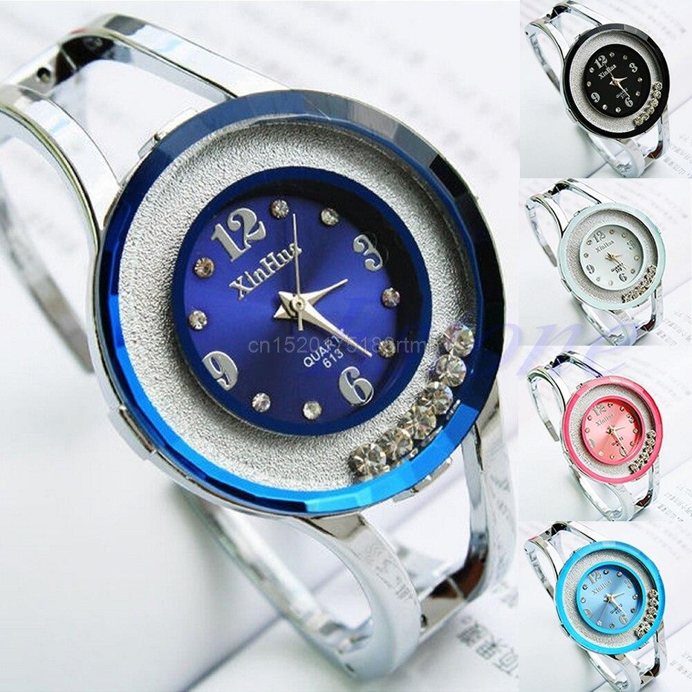 New Women Bangle Crystal Dial Stainless Steel Quartz Analog Bracelet Wrist Watch stylish 8 led blue light digit stainless steel bracelet wrist watch black 1 cr2016