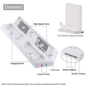 Image 5 - مروحة تبريد بيضاء ، حامل تبريد عمودي وحدات تحكم مزدوجة جهاز شحن USB Hub لجهاز بلاي ستيشن 4 برو PS4 برو وحدة التحكم عرض V2