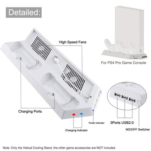 Image 5 - White Cooler Fan,Vertical Cooling Stand Dual Controllers Charging Dock USB Hub for Playstation 4 Pro PS4 PRO Console Showcase V2