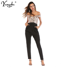 2019 New Arrivals Summer Gold Black Sexy Sequin Bodysuit Women Slash Neck Backless Feminino Overalls Party Jumpsuit