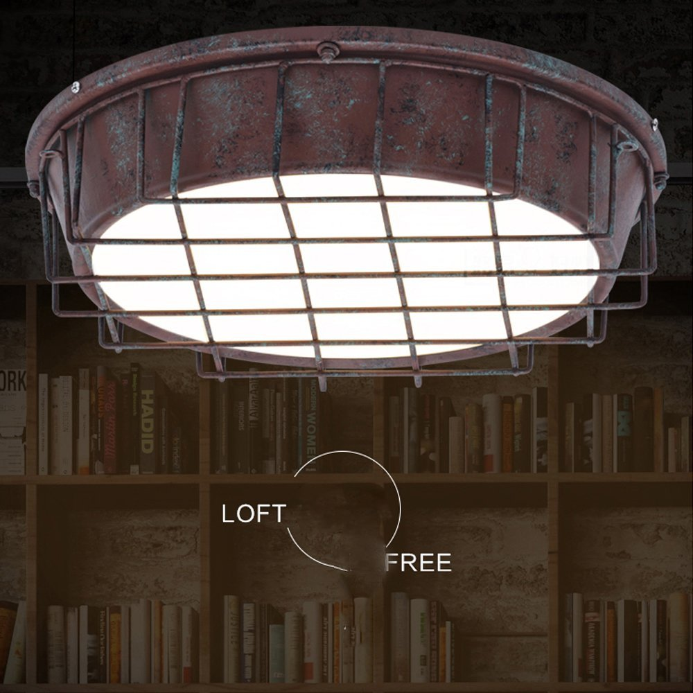 LED Ceiling Light Vintage Industrial Style Creative Iron Round Design Ceiling Lamps Personality Elegant Fixture, Bedroom 24W