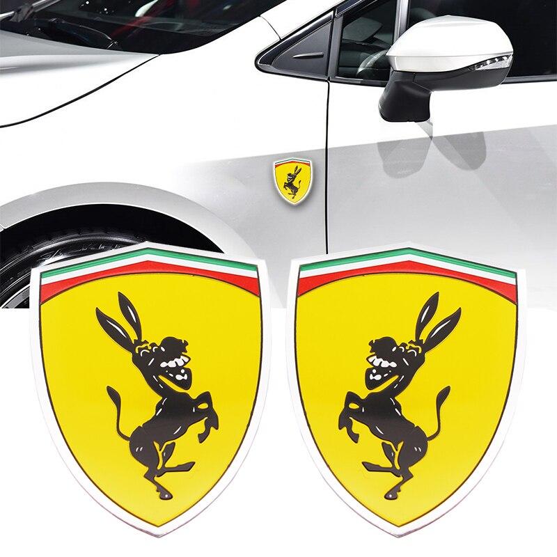 3D Aluminum Donkey Logo Car Window Body Sticker Creative Funny Metal Badge Sticker Emblem Decal Accessories For Ferrari Ford