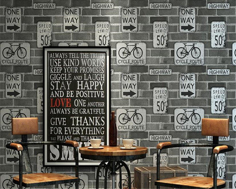 beibehang Vintage brick brick pattern alphabet bike bicycle 3d wallpaper personalized restaurant clothing shop cafe wall paper chinese retro personalized brick pattern wallpaper restaurant restaurants hotels dedicated wallpaper