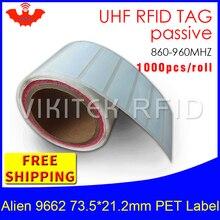 RFID UHF tag etiqueta printable PET rótulo 915m860-960MHZ Higgs3 Alien 9662 EPC6C 1000 pcs frete grátis adhesive passivo RFID labe