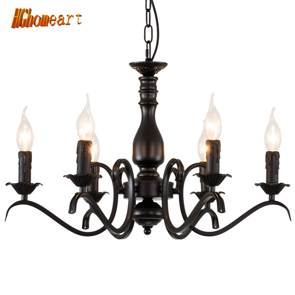 HGhomeart Chandeliers Iron Candle Light European style OD-204 Living Room Restaurant Bedroom Creative Bar Retro Chandelier цена