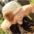 Praia Cap chapéus das mulheres 2017 Verão New Fashion Chiffon Dobrável Disquete Chapéus de Sol Casual Senhoras sombreros chapéu bowknot Menina