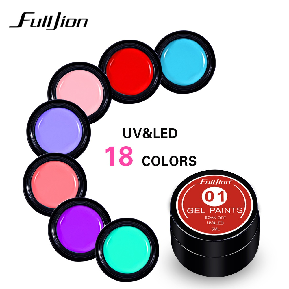 Fulljion Nail Painting Gel Pure Color Gel Lacquer Polish Soak Off UV Led Paint Nail Gel Varnish French Nails Art Tips 18 Colors