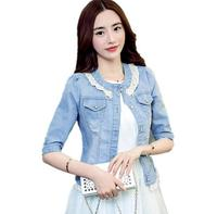 New Fashion Beaded Lace Denim Jacket Women Slim Was Thin Short Jeans Jackets Outerwear A162