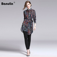 Banulin New 2019 Spring Summer Runway Vintage Print Long Sleeve Lace Up Belt Womens Party Casual OL Top Shirt Blouse