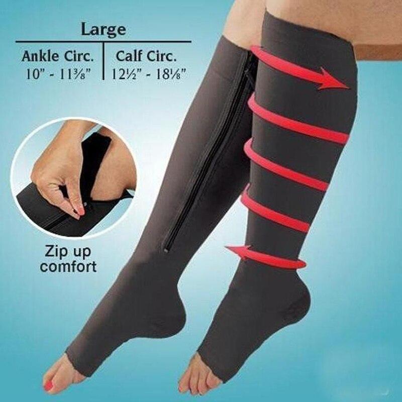 1 Paar Krampfadern Behandlung Socken Compression Zipper Socken Frauen Dünne Schlaf Bein Shapper Compression Fett Verbrennen Massage Exquisite Handwerkskunst;