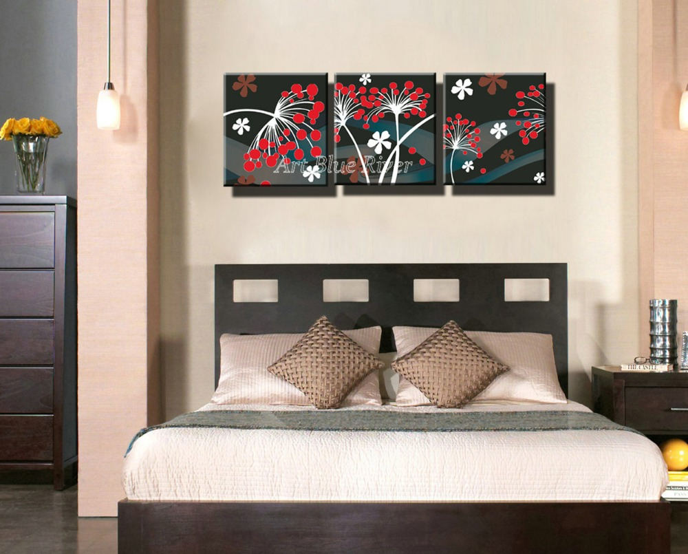 3 Piece Cheap HD Picture Prints Wall Art Modern Abstract Bedroom Red Flower  Painting Set On Canvas For Living Room Decoration In Painting U0026 Calligraphy  From ...