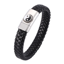 Fashion Men Bracelet Chinese Traditional Gossip Stainless Steel Magnetic buckle Charm Bracelet&Bangle Male women Jewelry BB0313