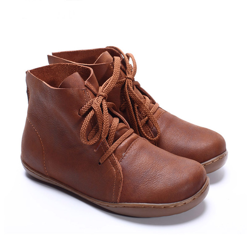 BEYARNE (35-42)Women Ankle Boots Hand-made Genuine Leather Woman Boots Spring Autumn Square Toe lace up Shoes Female Footwear 2017 xiangban women ankle boots handmade genuine leather woman short boots spring autumn round toe female footwear