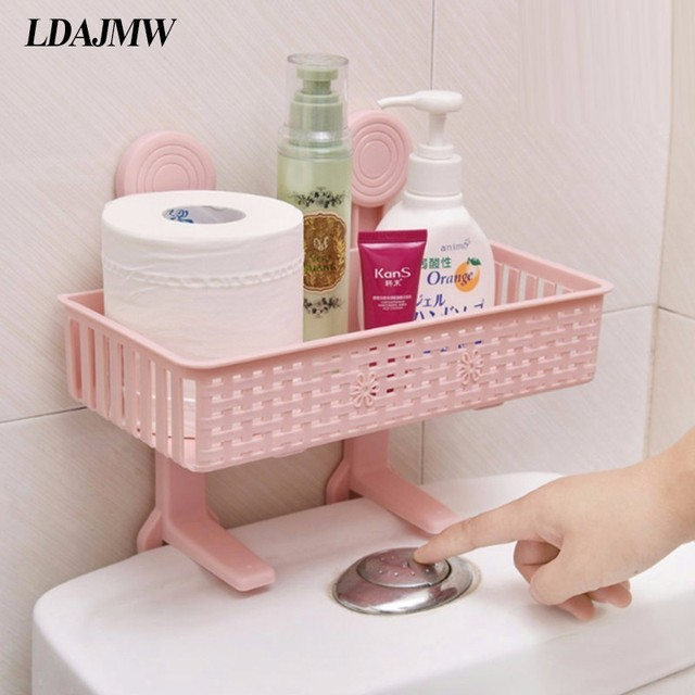 Toilet Free Punching Suction Cup Rack Bathroom Supplies Wall Plastic Storage Paper Towel Toiletries