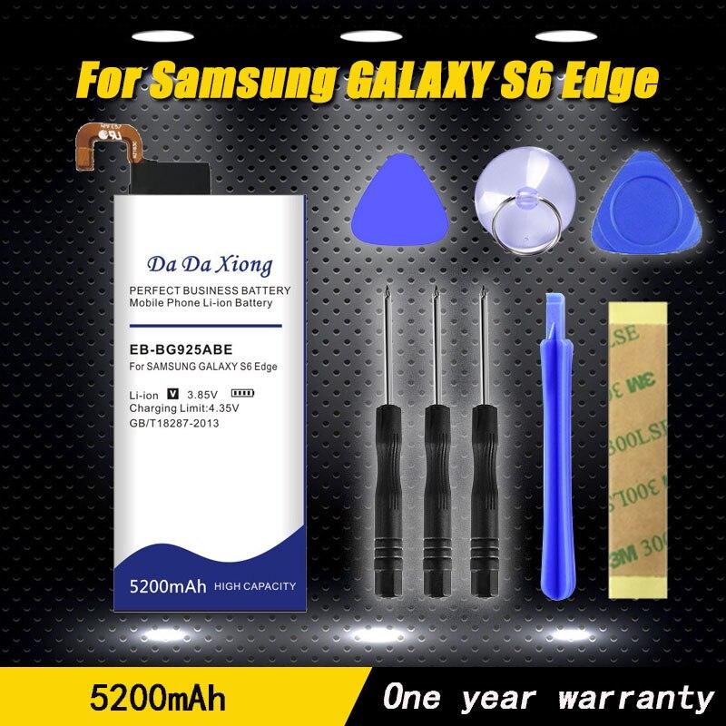 2019 Original 5200mAh EB-BG925ABE Li-ion Phone Battery For Samsung GALAXY S6 Edge Battery G9250 G925F G925FQ G925S Gift Tools