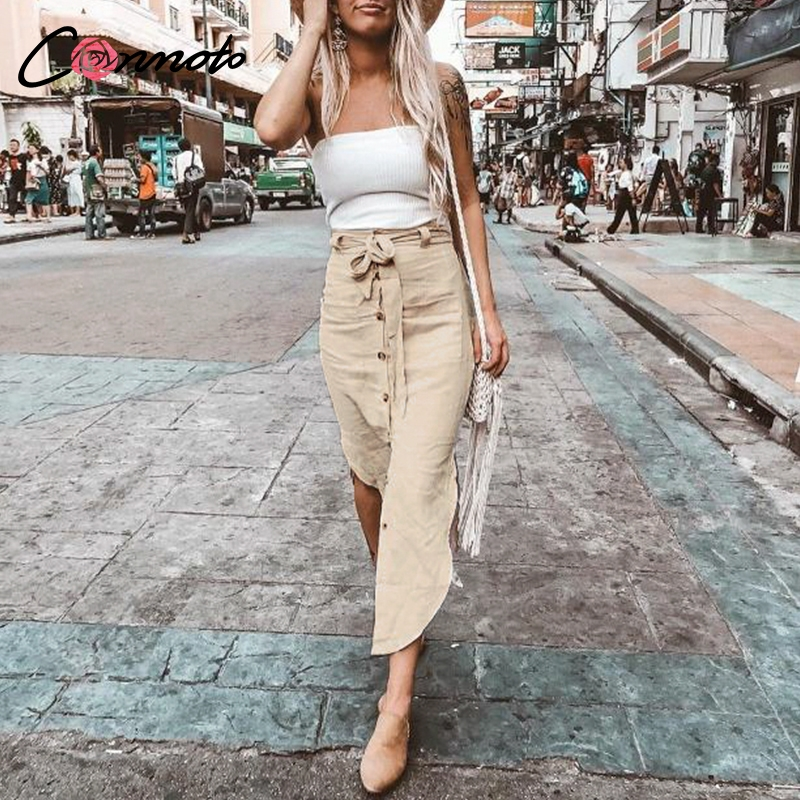 Conmoto High Fashion Women Summer Skirts High Waist Casual Solid Button Midi Skirts Bow Belt Tie Feminino Beach Skirts 2019 New
