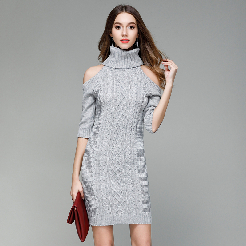 377f76d6a6b935 Burgundy camel grey black rolled turtleneck cold shoulder cable knitted  jumpers for women ladies midi bodycon sweater dresses -in Pullovers from  Women s ...