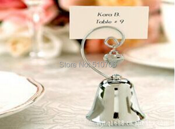 Free Shipping Wholesale Charming Silver Bell Place Card Holders Wedding Decoration Centerpieces300pcs