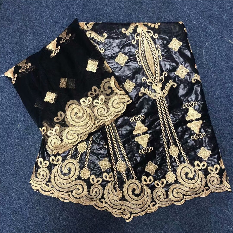 Beautiful african bazin riche getzner fabric embroidered beaded brode fabric with french lace head wraps black