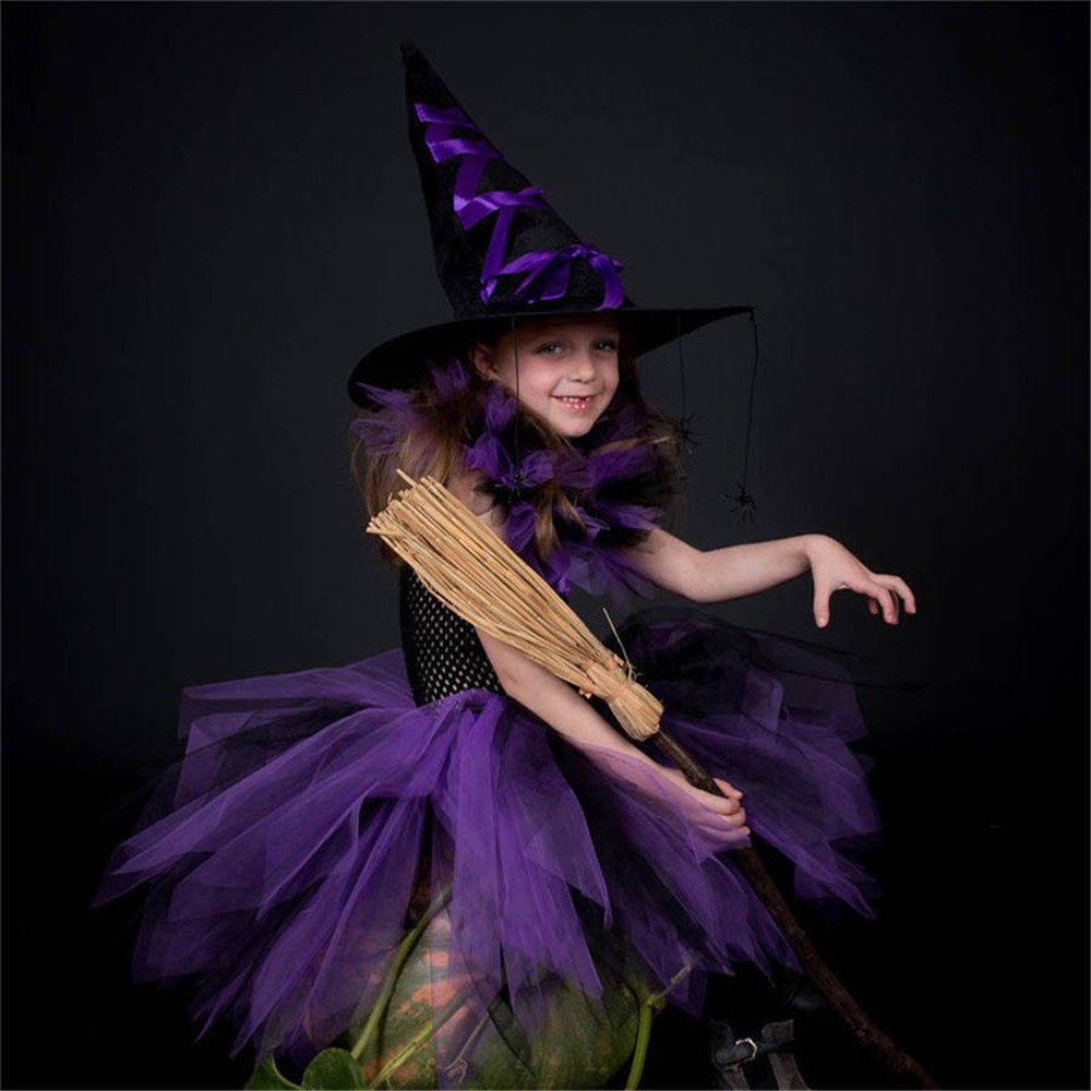 Halloween Witch Wizard Costume For Kid Girls Purple Black Tutu Dress Child Horror Rainbow Top Outfit Fancy Party Tulle Dress