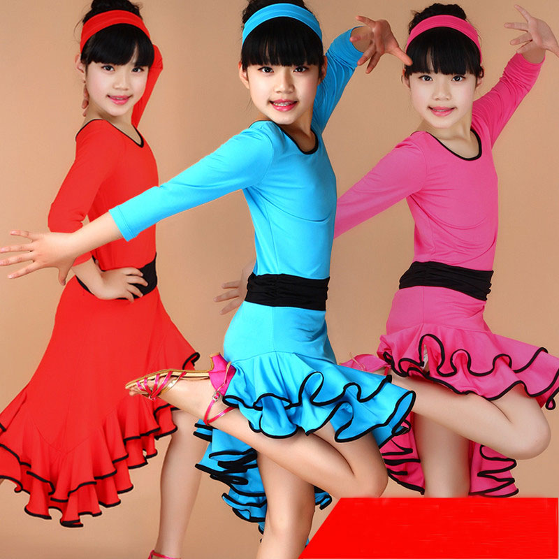 4 färger Barn Barn Tjej Latinskläder Dansföreställning Tävling Dancing Dansdräkt Latin Dance Dress For Girls