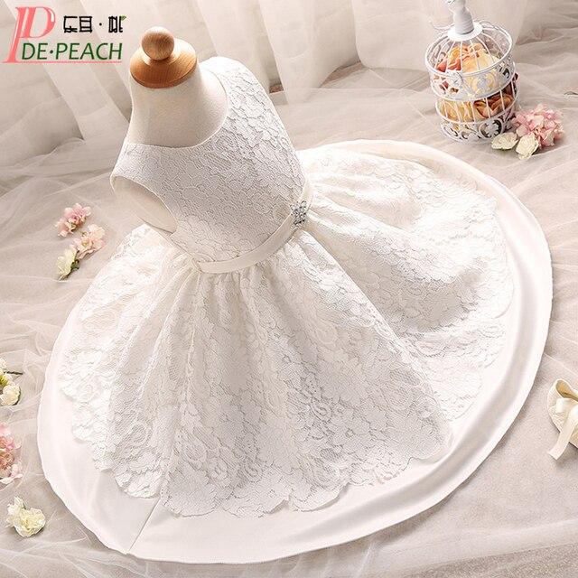 Sommer Stil Weiß Baby Mädchen Spitzenkleid Kleinkind Taufe Kleid ...