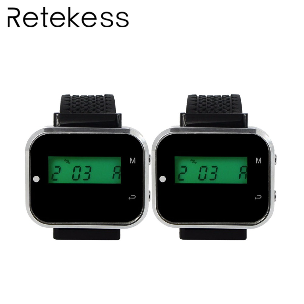 2pcs Wrist Watch Pager Receiver Black 433 92MHz Call Pager Waiter For Wireless Restaurant Ordering System