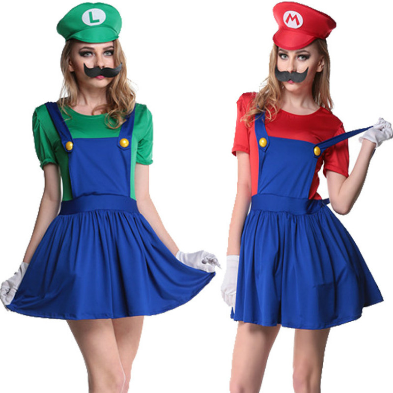 women adult princess super mario costume for bros girl cosplay mario child shirt super mario halloween costumes luigi clothing