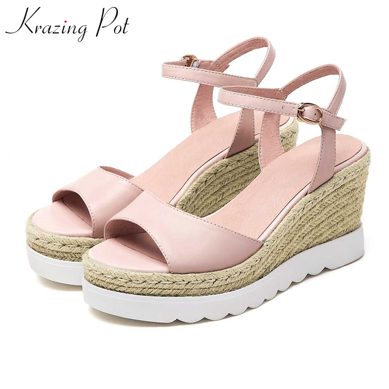 Krazing pot sheep leather straw made high heel streetwear European metal buckle straps waterproof dailywear model sandals L11Krazing pot sheep leather straw made high heel streetwear European metal buckle straps waterproof dailywear model sandals L11