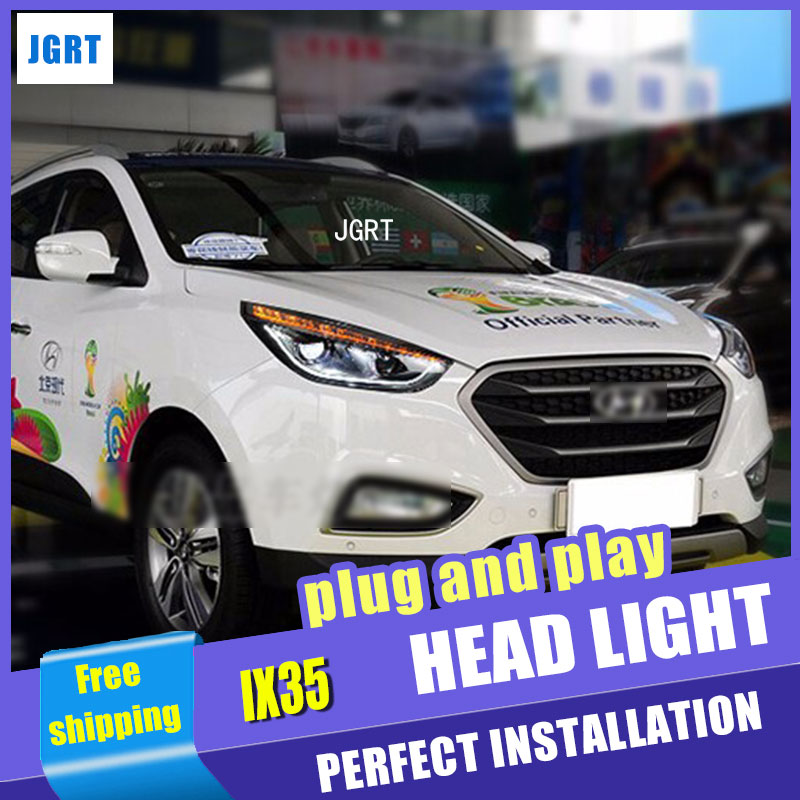 Car Styling LED Head Lamp for Hyundai IX35 headlight assembly 2010-2014 New Tuscon led headlight led drl H7 with hid kit 2pcs. car styling head lamp for bmw e84 x1 led headlight assembly 2009 2014 e84 led drl h7 with hid kit 2 pcs