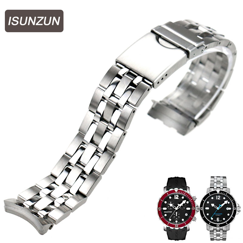 ISUNZUN Hot Sale Watch Band for Tissot RS200 T066 Watch Strap T067417A Steel T066 407 Steel Watch Band Fast Shipping in Watchbands from Watches