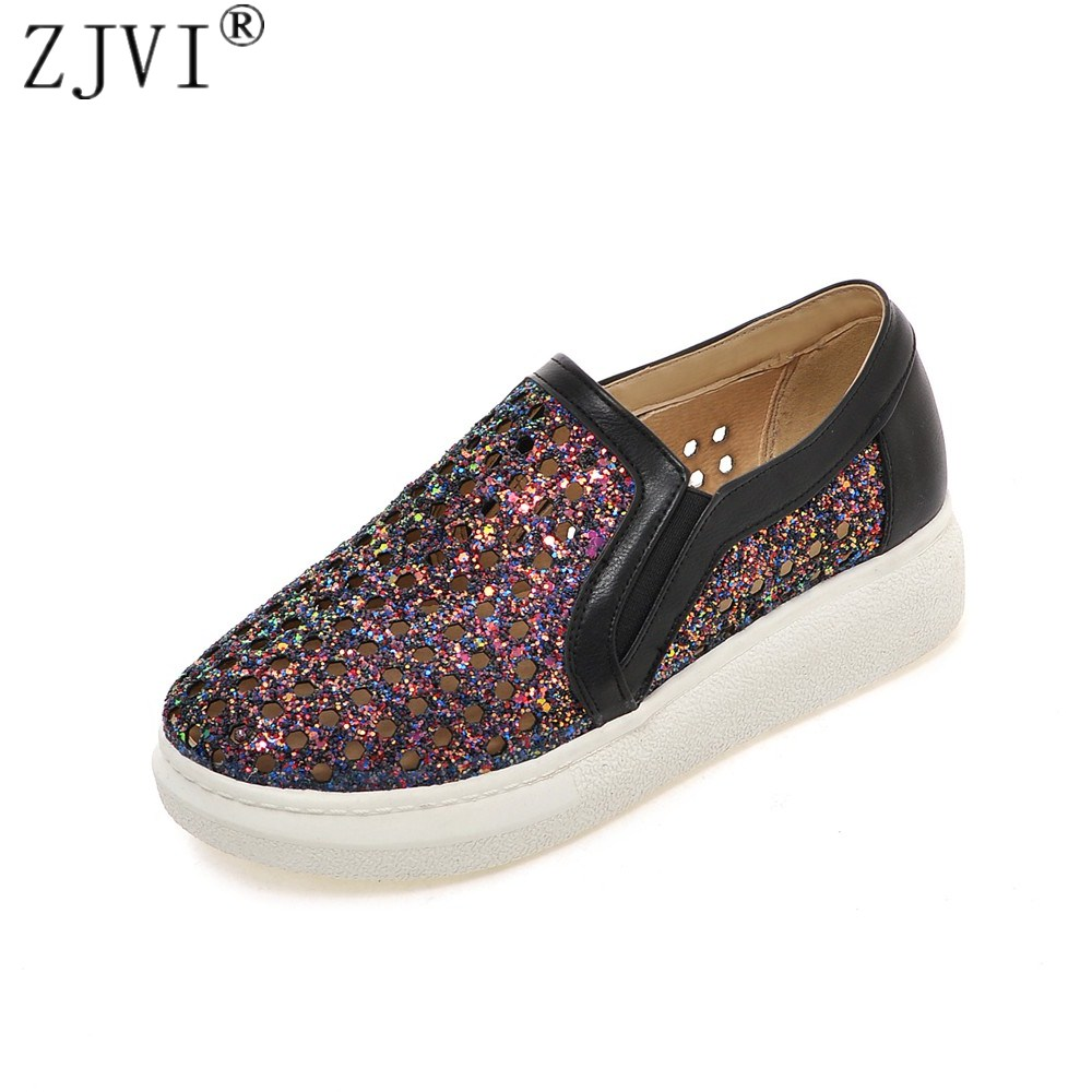 ZJVI Women round toe loafers summer cut outs shoes 2108 woman flats womens casual shoes ladies bling flat platform sneakers