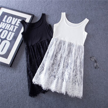 Summer Women Lace Dress Hollow out white black mesh lace dress Casual Elegant sexy Sleeveless Beach Vest dresses  vestidos